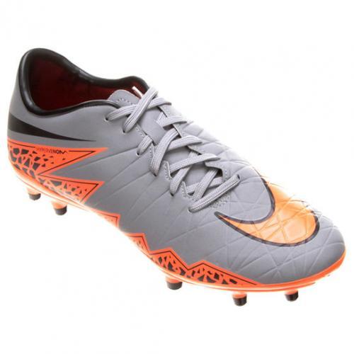 947a716310 Chuteira Campo Nike Hypervenom Phelon 2 FG Masculina - Cinza e Laranja ...