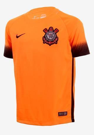 55116ccb22 Camisa Nike Corínthians III Torcedor 2015 2016 Laranja Infantil (Sem  número) ...