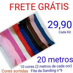 62c2f02a7 kit 5 - 20 metros de fita Sanding nº9 (10 cores) - 2 metros