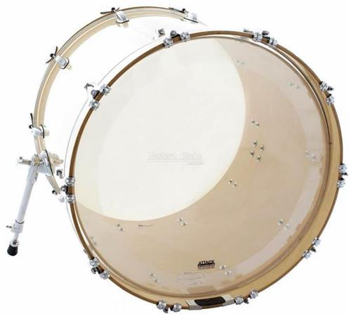 "Pele Attack Drumheads 1-Ply No Overtone Bass Clear 22"" Pele de Bumbo com Muffle Abafador DHNO22"