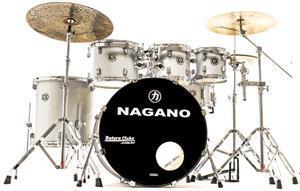 """Bateria Nagano Garage Rock Grey Sparkle 22"""",8"""",10"""",12"""",16"""" c/ Peles Hidráulicas e Banco"""