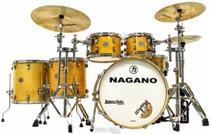 "Bateria Nagano Work Series Birch Natural Lacquer 22"",10"",12"",14"",16"" com Ferragens Top da Marca"