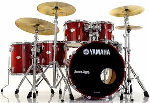"Bateria Yamaha Beech Custom Red Apple Lacquer 22"",10"",12"",14"",16"" (Seminovo) Raridade Made in Japan"