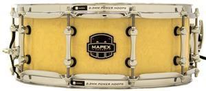 "Caixa Mapex Armory Peacemaker Maple Walnut Antique Ivory Figured Wood 14x5,5"" com Aros Power Hoop"