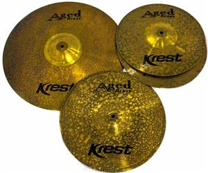"Kit de Pratos Krest Aged Brass Vintage ABSET1 com Chimbal 13"", Crash 14"", Crash Ride 18"" e Bag"