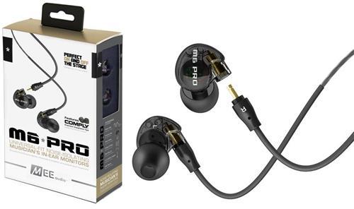 Fone de Ouvido Mee Audio M6 Pro Black In Ear com Cabo Destacável, Bag e Diversos Plugs