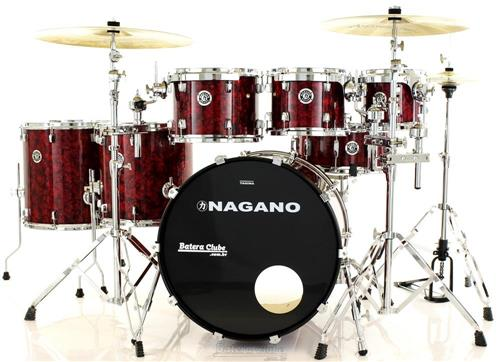 "Bateria Nagano Concert Full Celluloid Birch Red Abalone 22"",8"",10"",12"",14"",16"" com Kit de Ferragens"