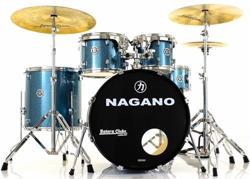 "Bateria Nagano Garage Rock Ocean Sparkle 22"",10"",12"",16"" com Peles Hidráulicas e Banco"