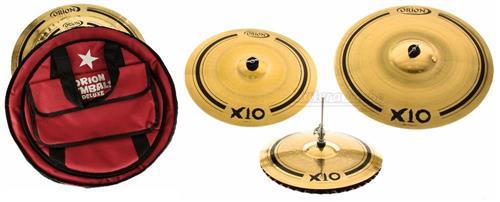 "Kit de Pratos Orion X10 SPX80 com Crash 17"", Hihat Mastersound 14"", Ride Impact 21"" e Bag Deluxe"