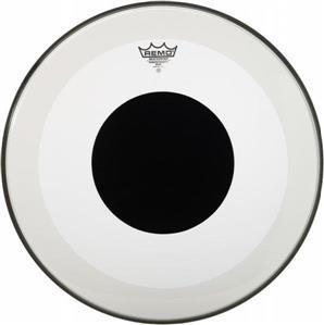 """Pele Remo Powerstroke 3 Clear 18"""" Transparente c/ Anel Abafador e Reforço Central Black Dot (10843)"""