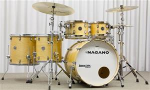 """Bateria Nagano Maple Die-Cast Full Natural Lacquer 22"""",10"""",12"""",14"""",16"""" (Shell Pack)"""