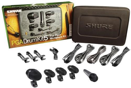 Kit de Microfones Shure PGA Drum Kit5 com 5 Peças, Bag, Cabos, e Clamps para Bateria (Original)