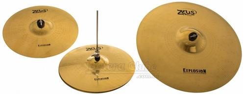 "Kit de Pratos Zeus Explosion Set C com Bag, Crash 16"", Ride 20"", Chimbal 14"" em Bronze B20"