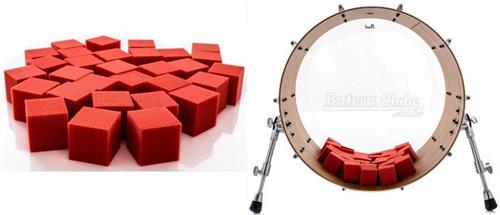Abafador de Bumbo e Filtro DrumKubes Red WKITRED Bass Muffle Kit com 30 Cubos e Bag