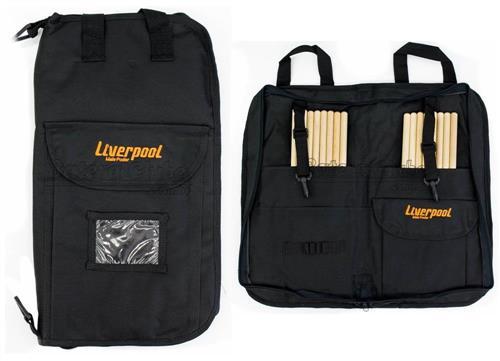 Bag de Baquetas Liverpool Premium Black 02P-BAG Tamanho Grande com Várias Repartições