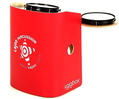 Bateria Cajón Percussion Gig Box GB-VR Vermelho Mini Bateria Cajón Kit Compacto