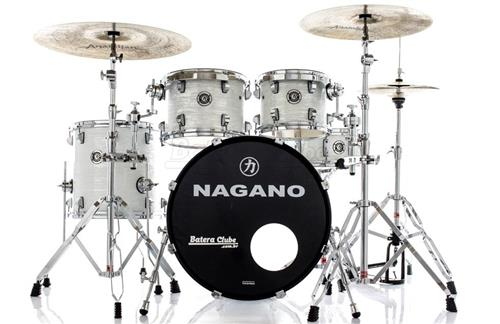 "Bateria Nagano Concert Celluloid Birch Brooklin White 20"",10"",12"",14"" com Kit de Ferragens"