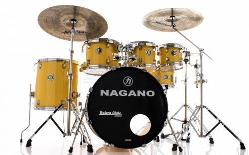 "Bateria Nagano Garage Rock Yellow Race 22"",8"",10"",12"",16"" com Peles Hidráulicas e Banco"