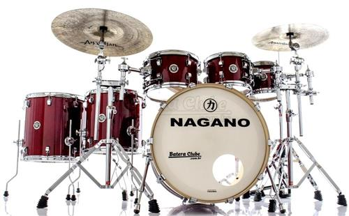 "Bateria Nagano Work Series Birch Red Sparkle 22"",8"",10"",12"",14"",16"" com Ferragens Top da Marca"