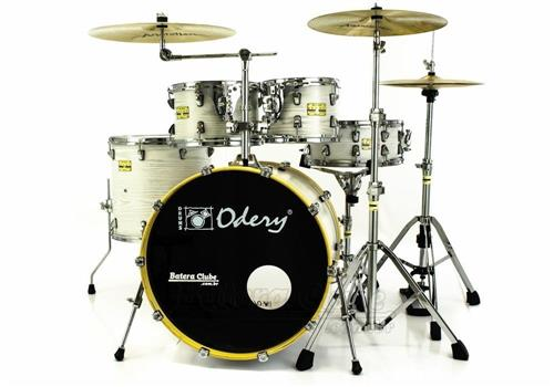 "Bateria Odery Fluence Jam Session FL.200 White Ash Maple 20"",10"",12"",14"" com Kit de Ferragens"