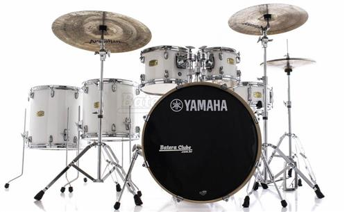 "Bateria Yamaha Stage Custom Birch Pure White Lacquer 22"",10"",12"",14"",16"" com Ferragens"
