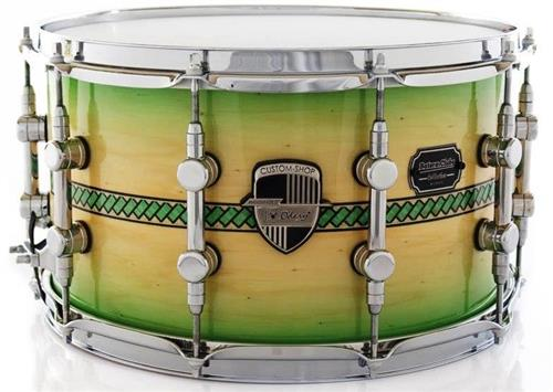 """Caixa Odery Custom-Shop Limited Batera Clube Collection Charlotte Coral Green Burst Inlay 14x8"""""""