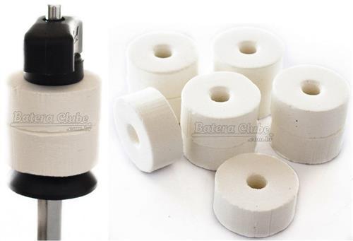 Feltros Rubber Wheel Kit com 10 Feltros (Branco) para Estante de Prato com 15mm de Espessura
