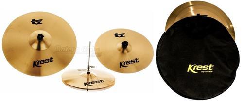 "Kit de Pratos Krest TZ Series com Chimbal 14"", Crash 16"", Ride 20"" e Bag TZSET1-CX20"