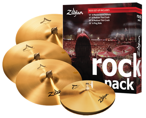 "Kit de Pratos Zildjian Rock A Series A0801R com Crashes 17"" e 19"", Ride 20"", Chimbal 14"""