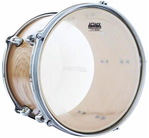 "Pele Attack Drumheads 2-Ply Medium Clear 15"" Filme Duplo Transparente DH15 com Borda Tone Ridge"