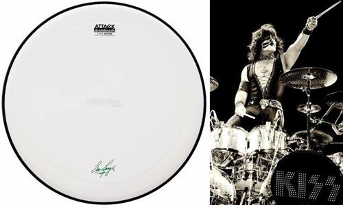 "Pele Attack Drumheads Signature Eric Singer Kiss 14"" ES14C Coated com com Borda Anti-vibração"