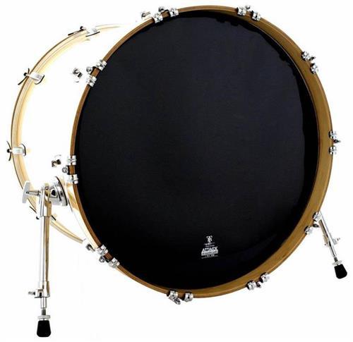 """Pele Attack Drumheads Terry Bozzio Signature Thin Black Resonant 18"""" Resposta Preta de Bumbo TBBL18"""