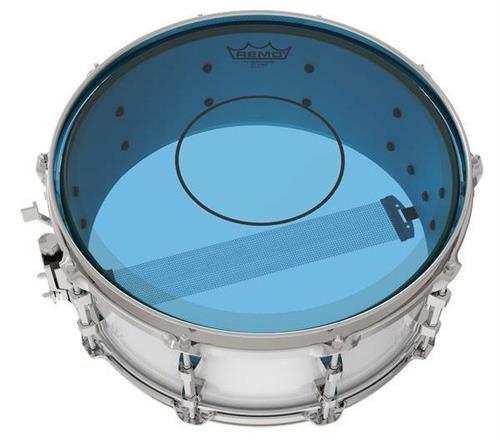 """Pele Remo Powerstroke 77 Colortone Blue 14"""" Dupla Azul com Abafador e Bola Central (15625)"""