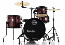 Bateria Ludwig Pocket Kit by Questlove Signature Red Sparkle Compacta com Ferragens e Pratos
