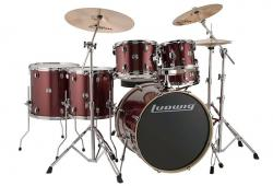"Bateria Ludwig Element Evolution Wine Red Sparkle 22"",10"",12"",14"",16"" com Ferragens e Banco"