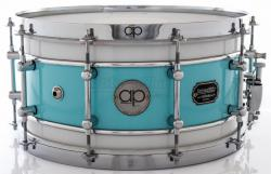 "Caixa AP Drums Inox Blue Olive White Chrome Stripe 14x7"" Limited com Aros High Hoop Vintage 2.7mm"