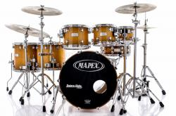 "Bateria Mapex Saturn Maple Walnut Tobacco Burst 22"",8"",10"",12"",14"",16"" Caixa 14x5,5"" com Bags"
