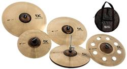 "Kit de Pratos Batera Clube Solutions Hole Full com Crashes 16"", 18"", Hihat 14"", Ride, Splash e Bag"