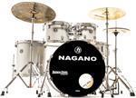 """Bateria Nagano Garage Rock Grey Sparkle 22"""",10"""",12"""",16"""" com Peles Hidráulicas e Banco"""