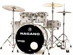 """Bateria Nagano Garage Fusion Grey Sparkle 20"""",10"""",12"""",14"""" com Peles Hidráulicas e Banco"""