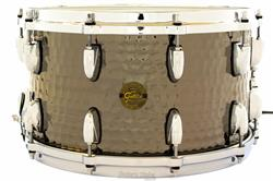 "Caixa Gretsch Full Range Hammered Black Nickel Steel Shell 14x8"" com Aros Die-Cast Ballad Snare"