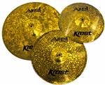 "Kit de Pratos Krest Aged Brass Vintage ABSET3 com Chimbal 14"", Crash 16"", Ride 20"" e Bag Grátis"