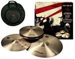 "Kit de Pratos Stagg SH Traditional com Chimbal 14"", Crash 16"", Ride 20"" e Bag Deluxe (Bronze B20)"