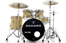 """Bateria Nagano Garage Fusion Natural Ivory 20"""",10"""",12"""",14"""" com Peles Hidráulicas e Banco"""