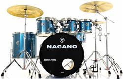"Bateria Nagano Garage Rock Ocean Sparkle 22"",8"",10"",12"",16"" com Peles Hidráulicas e Banco"