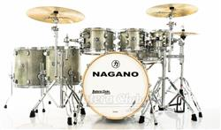 "Bateria Nagano Work Series Birch Artic Sparkle 22"",8"",10"",12"",14"",16"" com Ferragens Top da Marca"