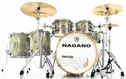 "Bateria Nagano Work Series Birch Artic Sparkle 22"",10"",12"",14"",16"" com Ferragens Top da Marca"