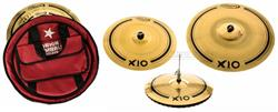 "Kit de Pratos Orion X10 SPX80 com Crash 17"", Hihat Mastersound 14"", Ride Impact 21"" e Bag Deluxe"