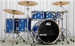 "Bateria DW Collectors Maple Finish Ply Blue Glass Satin Chrome 22"",8"",10"",12"",14"",16"""