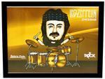 Quadro Pôster Mitos do Rock John Bonham Led Zeppelin com Moldura e Vidro - Tamanho A3